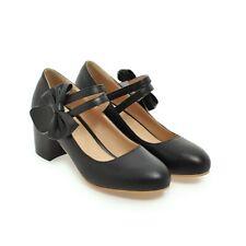Women Pumps Chunky Med Heel belt buckle Clubwear Heels Bow Preppy Shoes BDX0013