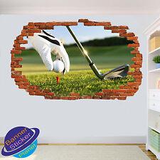GOLF tee Shot Fairway 3d rotto Wall Art Sticker Decorazione Per Soggiorno Decalcomania Murale