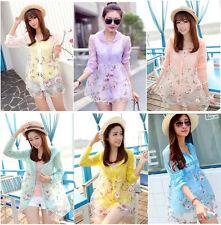 Korean Fashion Women's Chiffon Blouse UV Protection Long Sleeve Shirts Tops