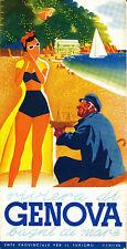 """Italy italian Genova  Vintage Illustrated Travel Poster art Print for Frame 36"""""""