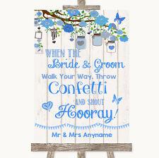 Wedding Sign Poster Print Blue Rustic Wood Confetti