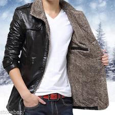 Winter Stylish Mens Warm Jacket Leather Coat Fur Parka Fleece Jacket Slim Coat