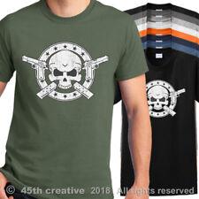 1911 Pistol T-shirt - 1911 hand gun skull shirt .45 acp crossbones tee shirt