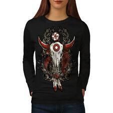 Rose Indian Beast Skull Women Long Sleeve T-shirt NEW   Wellcoda
