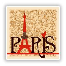 2 x Eiffel Tower Paris Vinyl Stickers Travel Luggage #7750