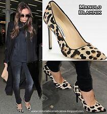 $895 New Manolo Blahnik BB 105 Leopard  Beige Pony Black Shoes 41.5 V. Beckham