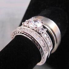 3 Ring Set HIS Titanium Brush 8mm & Italian Ladies 2 Pieces Engagement RING 5-12
