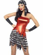 Falshy Metallic Pirate Wench Womens Halloween Costume Skull Bandana Set XS-M