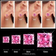 Stainless Steel Pink Princess-cut CZ Stud Earrings