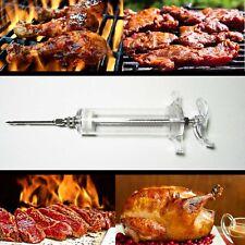 BBQ Meet Marinade Seasoning Injector Turkey Chicken Flavour Sauce Syringe Needle