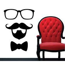 WALL STICKERS ADESIVI MURALI barba baffi occhiali mustache parete muro casa