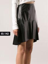 Genuine Soft Lambskin Leather Ruffle Hem Skirt