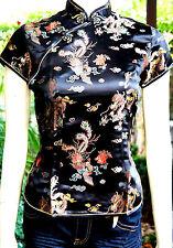 Asia Miss China-Geisha-Kimono-Qipao Kostüm Bluse/Blazer/Top Schwarz Gr. 34-42