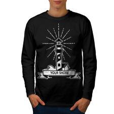 Wellcoda Lighthouse Mens Long Sleeve T-shirt, Sailor Shore Graphic Design