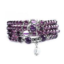 6mm 108 natural amethyst Buddha bead bracelet Gemstone cuff Buddhism Wrist bead