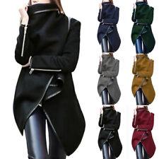 Women Irregular Bow Zippers Winter Warm Coat Plus Size Wool Jacket Long Overcoat