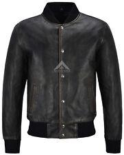 Homme Varsity Veste en Cuir Noir Rub Off Classic Bomber Style 100% cuir véritable
