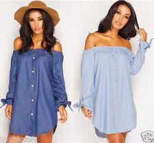 Ladies Womens Denim Off Shoulder Bardot Long Sleeve Front Button Shirt Dress