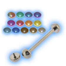 Titane mamelon Bar Barbell demi boules Piercing 8 mm - 24 mm interne fileté