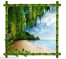 Sticker mural déco cadre bambou Tropiques réf 7228