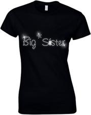 Big Sister CRISTALLO DONNA T Shirt - STRASS tutte le taglie