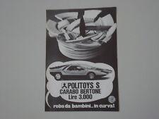 advertising Pubblicità 1971 CARABO BERTONE POLITOYS