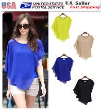 Fashion Casual Women's Short Sleeve Bat Chiffon T-Shirt Tops Summer Blouse L5