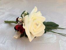 H) Wedding buttonhole flowers corsage bride bridesmaid groom ivory pearl ribbon