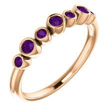 Genuine Amethyst Bezel Set Ring In 14K Rose Gold