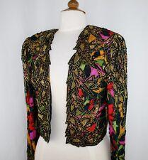 Jasdee Vintage Bolero Jacket Hand Work Beading & Hand Print On Silk Style 2077