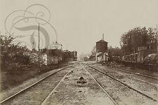 PLAQUE ALU REPRODUISANT UNE PHOTO GARE TRAIN WAGON CLERMONT OISE 1852 BALDUS