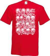 T Shirt im Rotton mit einem Gothik-,Biker-&Tattoomotiv Modell Skulls Bling