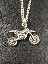 "SCRAMBLE MOTOR BIKE MOTOCROSS CHARM NECKLACE PENDANT 18 & 20""  Chain gift bag"