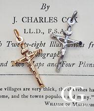 "Fine 9ct Gold 3.4cm Crucifix Pendant Necklace in White & Yellow 20"" MEN'S LADIES"