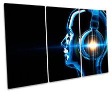 Digital DJ Headphones Music CANVAS WALL ART TRIPLE Box Frame Print
