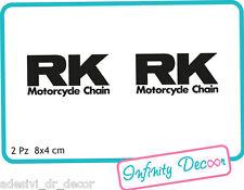 "2 Adesivi ""RK"" 8x4 cm sponsor tecnici moto honda suzuki kawasaki ducati"