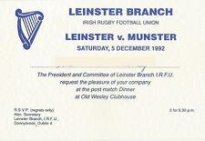 Leinster v Munster 5 Dec 1992 Dublin RUGBY DINNER INVITATION OLD WESLEY