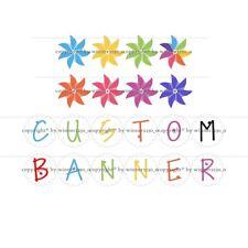 "Premium Quality Personalised Custom Cardbard Banner Garland Pinwheel 5"" 8"" High"