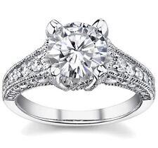 2.00ct Round Forever Brilliant Moissanite & Diamond Antique Engagement Ring 14k