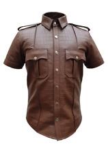 Mens Brown Alligator/Crocodile Leather Police Real Uniform Shirt BLUF Hot