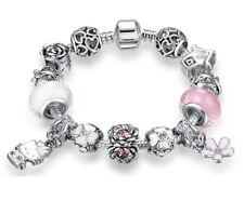 Pulsera de cuentas con charms de cristal Murano rosa y Hello Kitty para regalo