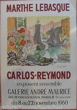 MARTHE*LEBASQUE*CARLOS*REYMOND*AFFICHE*LITHO*1960*PARIS