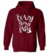 Crazy bunny lady hoodie or sweatshirt animal pet Easter chocolate rabbit  1843