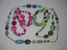 s241) tolle Modeschmuck Halskette Hänge Kette Marmoriert Pink Blau Grün ca. 45cm