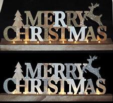 Wooden Reindeer MERRY CHRISTMAS Light Up LED 40cm Christmas Ornament