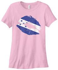 Threadrock Women's Honduras Flag Lips Honduran Kiss T-shirt Catracho