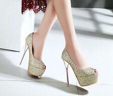 Décollte Zapatos de salón strass mujer talón perno plataforma 1.5 cm rojo 9192