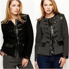 Femmes Trench Laine Veste Noir Gris finitions en cuir sans col Manteau Crop Blazer
