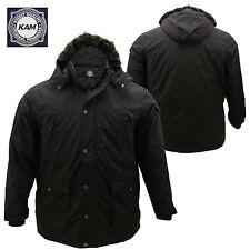 Mens KAM Plus Big Size Long Fur Hooded Lined Zip Up Jacket Coat 3XL 4XL 5XL 6XL