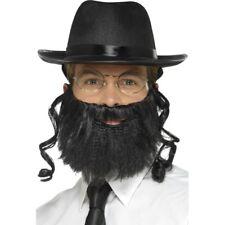 Men's Instant Rabbi Kit Hat Attached Hair Beard & Glasses Religious Fancy Dress
